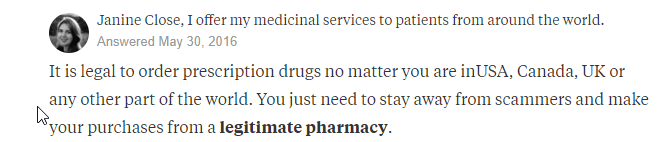 Ordering Canadian RX