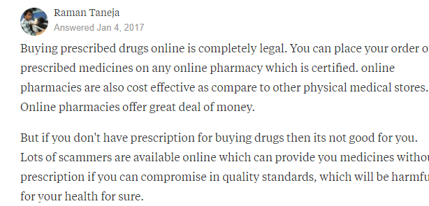 Ordering drugs from Online Drug Stores