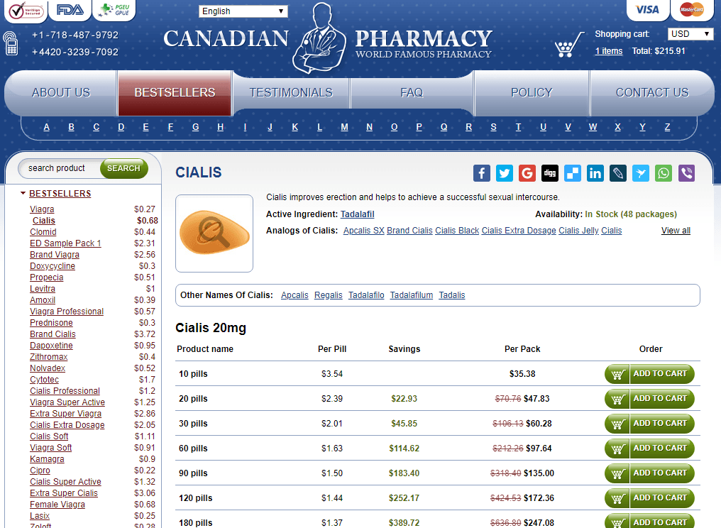 Generic Cialis Price at Online Pills Canadian Pharmacy