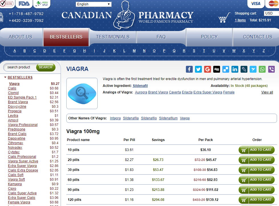 Generic Viagra Price at Online Pills Canadian Pharmacy